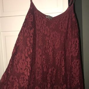 American Eagle Outfitters Dresses - Maroon lace spaghetti strap dress